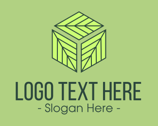 Ecofriendly - Green Leaf Hexagon Cube logo design