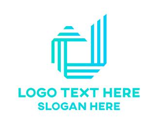 Steel - Modern Blue D Outline logo design