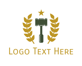 Gold Star - Gold Laurel Gavel logo design