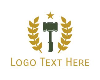 Mallet - Gold Laurel Gavel logo design
