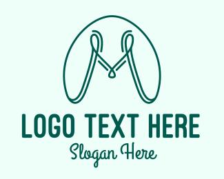 Blue Green - Cursive Letter M logo design