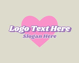 Word - Heart Retro Vintage Wordmark logo design