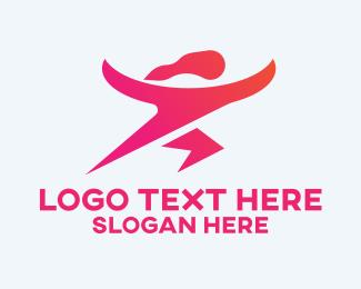 Gymnasium - Female Fitness Instructor logo design