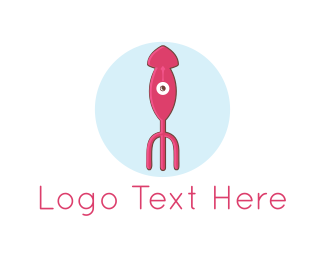 Calamari - Squid Fork logo design