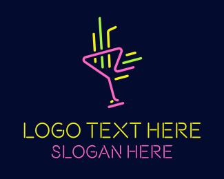 Alcoholic Drink - Neon Cocktail Strobe logo design