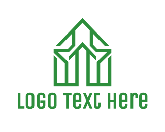 Real Estate - Green House Outline logo design