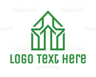 Architect - Green House Outline logo design
