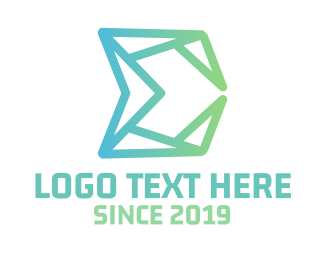 Pink Triangle - Green Polygon E logo design