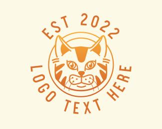 Pet Store - Orange Tabby Cat Pet logo design