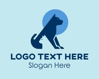 Cat Grooming - Blue Dog Cat Vet  logo design