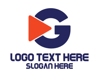 Youtube - Orange Blue Play G logo design