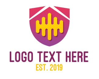 Disco - Digital Music Shield logo design