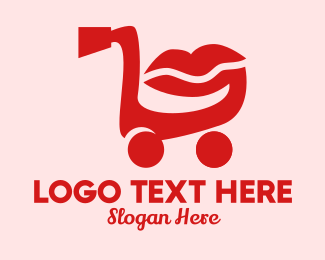 Push Cart - Shopping Cart Lips  logo design