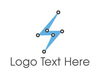 Hi-tech - Blue Lightning logo design