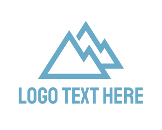 Hiking - Blue Mountain Outline logo design