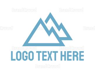 Mountain - Blue Mountain Outline logo design