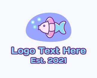 Swimming - Pastel Swimming Fish logo design