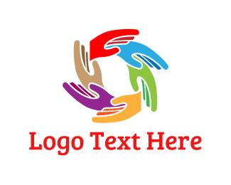 Diversity - Colorful Hands logo design