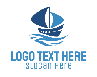 Sailboat - Blue Ship logo design