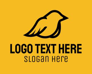 Sparrow - Simple Perched Sparrow logo design