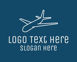 Pilot Training - White Airplane Monoline logo design