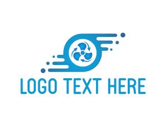 Wind - Blue Fan logo design