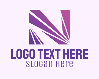 Line Motion - Modern Purple Letter N logo design