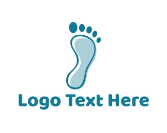 Walk - Blue Footprint logo design