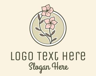 Cherry Blossom - Sakura Flower Badge logo design