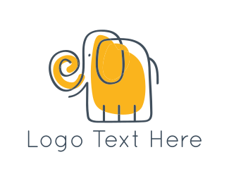 Preschool - Yellow Elephant logo design