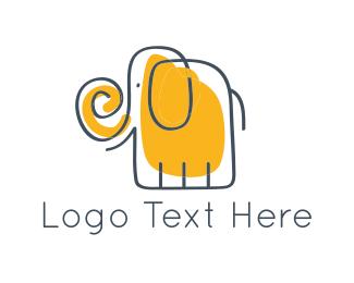 Kids - Yellow Elephant logo design