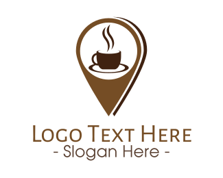 Gps Pin - Coffee Location Pin logo design