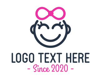 Emoji - Happy Little Girl logo design