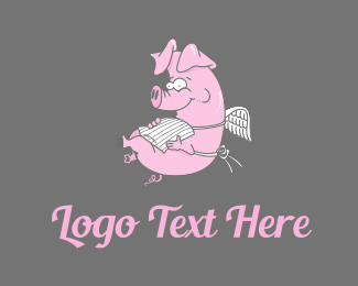 Pig - Pig With Wings logo design