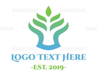 Pure - Gradient Fern logo design