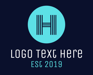 Hostel - Striped H Circle logo design