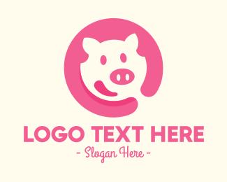 Bacon - Happy Pink Pig logo design
