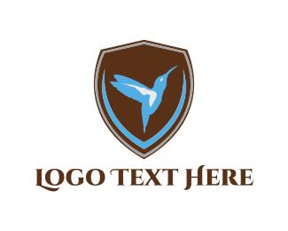 Colibri - Hummingbird Shield logo design