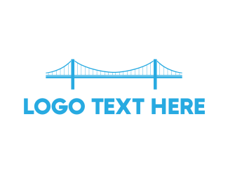 Brisbane - Blue Anchored Bridge  logo design