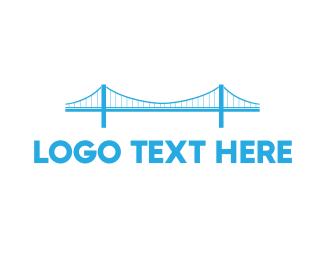 Truss - Blue Anchored Bridge logo design