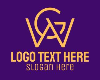 Typography - Golden W & G Monogram logo design