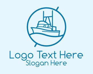 Ship - Blue Cargo Ship logo design