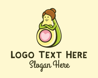 Butter Fruit - Happy Avocado Lady  logo design