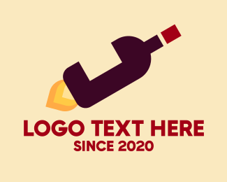 Celebrate - Wine Bottle Flame logo design