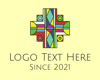 Baptism - Multicolor Cross Stained Glass logo design