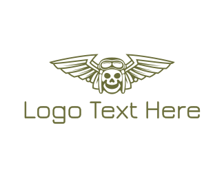 Happy - Happy Skull Pilot Wing logo design