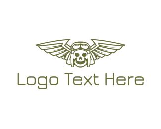 Pilot - Happy Skull Pilot Wing logo design