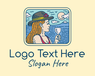 Vacation - Relaxed Vacation Lady  logo design
