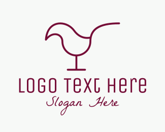 Bird - Minimalist Red Wine Chick logo design