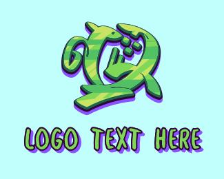 Hhip Hop - Green Graffiti Art Letter Q logo design